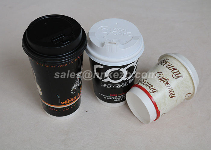 Eco Friendly 12oz Double Wall Paper Cup With Lid Takeaway For Hot Drinking